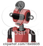 Pinkish Mech With Multi Toroid Head And Round Mouth And Black Visor Eye And Radar Dish Hat