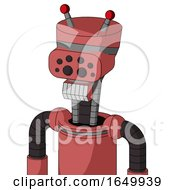 Pinkish Mech With Vase Head And Teeth Mouth And Bug Eyes And Double Led Antenna