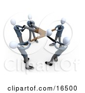 Circle Of Businessmen With Each Person Pulling On A Part Of A Client All Fighting And Competing Over Their Customers