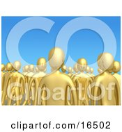 Crowd Of Gold People Standing Tall Together In A Group Against A Blue Sky Background Symbolizing Unity And Teamwork Clipart Illustration Graphic