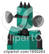 Green Automaton With Cylinder Head And Happy Mouth And Black Visor Cyclops And Three Dark Spikes