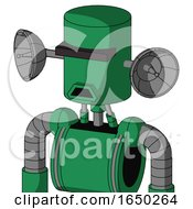 Green Automaton With Cylinder Head And Sad Mouth And Black Visor Cyclops