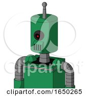 Green Automaton With Cylinder Head And Speakers Mouth And Black Cyclops Eye And Single Antenna
