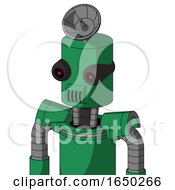 Green Automaton With Cylinder Head And Speakers Mouth And Black Glowing Red Eyes And Radar Dish Hat