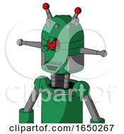 Green Automaton With Dome Head And Happy Mouth And Angry Cyclops Eye And Double Led Antenna