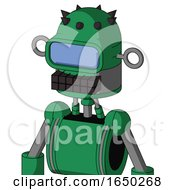 Green Automaton With Dome Head And Keyboard Mouth And Large Blue Visor Eye
