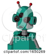 Green Automaton With Dome Head And Sad Mouth And Three Eyed And Double Led Antenna