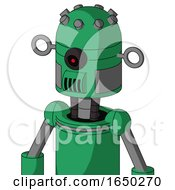Green Automaton With Dome Head And Speakers Mouth And Black Cyclops Eye