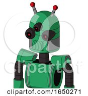 Green Automaton With Dome Head And Speakers Mouth And Three Eyed And Double Led Antenna