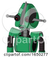 Green Automaton With Droid Head And Happy Mouth And Black Glowing Red Eyes And Spike Tip