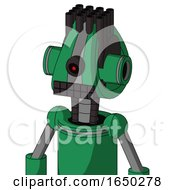 Green Automaton With Droid Head And Keyboard Mouth And Black Cyclops Eye And Pipe Hair