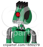 Green Automaton With Droid Head And Keyboard Mouth And Cyclops Eye And Pipe Hair