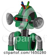 Green Automaton With Droid Head And Sad Mouth And Visor Eye And Wire Hair