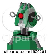 Green Automaton With Droid Head And Teeth Mouth And Cyclops Eye And Three Spiked