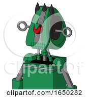 Green Automaton With Droid Head And Toothy Mouth And Angry Cyclops And Three Dark Spikes