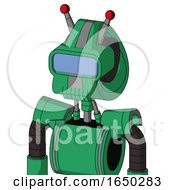 Green Automaton With Droid Head And Toothy Mouth And Large Blue Visor Eye And Double Led Antenna