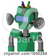 Green Automaton With Droid Head And Toothy Mouth And Large Blue Visor Eye And Wire Hair