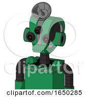 Green Automaton With Droid Head And Toothy Mouth And Three Eyed And Radar Dish Hat