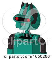 Green Automaton With Droid Head And Toothy Mouth And Visor Eye And Three Dark Spikes