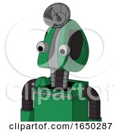 Green Automaton With Droid Head And Two Eyes And Radar Dish Hat