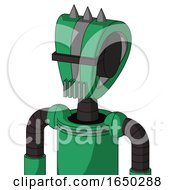 Green Automaton With Droid Head And Vent Mouth And Black Visor Cyclops And Three Spiked