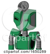 Green Automaton With Mechanical Head And Angry Eyes And Radar Dish Hat