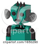 Green Automaton With Mechanical Head And Dark Tooth Mouth And Two Eyes And Three Dark Spikes
