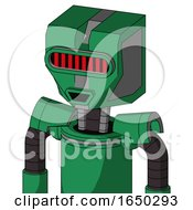 Green Automaton With Mechanical Head And Happy Mouth And Visor Eye