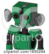 Green Automaton With Mechanical Head And Pipes Mouth And Three Eyed