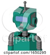 Green Automaton With Mechanical Head And Sad Mouth And Large Blue Visor Eye And Single Antenna