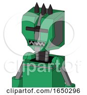 Green Automaton With Mechanical Head And Square Mouth And Black Visor Cyclops And Three Dark Spikes