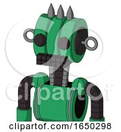 Green Automaton With Multi Toroid Head And Keyboard Mouth And Two Eyes And Three Spiked