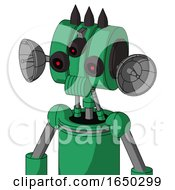 Green Automaton With Multi Toroid Head And Speakers Mouth And Three Eyed And Three Dark Spikes
