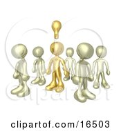 One Brass Person In A Group Of Gold People Thinking Up A Creative Idea With A Lightbulb Over His Head Clipart Illustration Graphic by 3poD