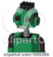 Green Automaton With Multi Toroid Head And Square Mouth And Red Eyed And Pipe Hair