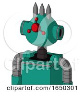 Green Automaton With Rounded Head And Cyclops Compound Eyes And Three Spiked