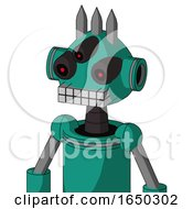 Green Automaton With Rounded Head And Keyboard Mouth And Three Eyed And Three Spiked