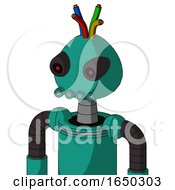 Green Automaton With Rounded Head And Pipes Mouth And Black Glowing Red Eyes And Wire Hair