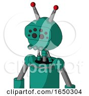 Green Automaton With Rounded Head And Pipes Mouth And Bug Eyes And Double Led Antenna