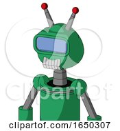 Green Automaton With Rounded Head And Teeth Mouth And Large Blue Visor Eye And Double Led Antenna