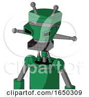 Green Automaton With Vase Head And Keyboard Mouth And Angry Eyes And Double Antenna