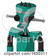 Green Automaton With Vase Head And Round Mouth And Black Glowing Red Eyes And Three Dark Spikes