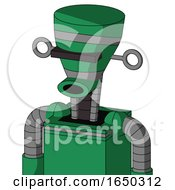 Green Automaton With Vase Head And Round Mouth And Black Visor Cyclops