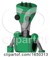 Green Automaton With Vase Head And Two Eyes And Three Dark Spikes