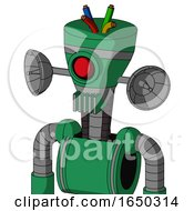 Green Automaton With Vase Head And Vent Mouth And Cyclops Eye And Wire Hair