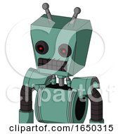 Green Mech With Box Head And Keyboard Mouth And Black Glowing Red Eyes And Double Antenna