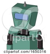 Green Mech With Box Head And Speakers Mouth And Large Blue Visor Eye And Spike Tip