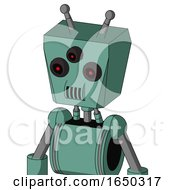 Green Mech With Box Head And Speakers Mouth And Three Eyed And Double Antenna