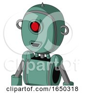 Green Mech With Bubble Head And Happy Mouth And Cyclops Eye And Spike Tip