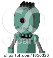 Green Mech With Bubble Head And Pipes Mouth And Black Cyclops Eye And Pipe Hair